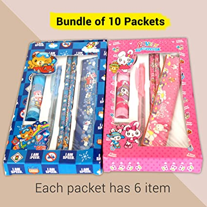 TIED RIBBONS Birthday Return Gifts For Kids Childrens Boys GirlsPack Of 10 Each Pack Contains 2 Pencils1 Eraser 1 Pen1 Scale1 Glue Stick