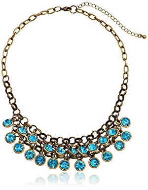 1928 Jewelry Burnished Brass Aqua Cluster Bib Necklace, 16