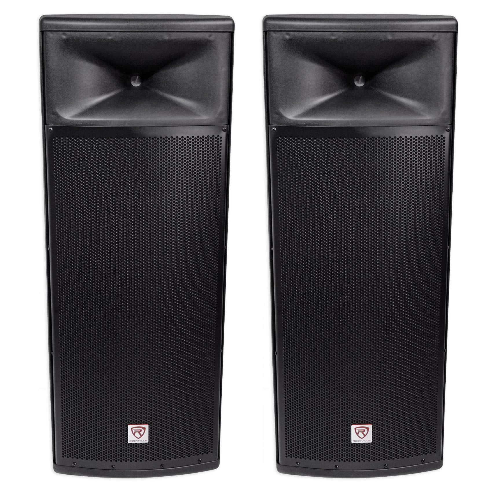 Pair Rockville SPGN258 Dual 15'' 3000w 8-Ohm Passive DJ PA Speaker/ABS Cabinet by Rockville