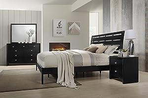 Roundhill Furniture Gloria Black Finish Wood Bed Room Set, Queen Bed, Dresser, Mirror, Night Stand