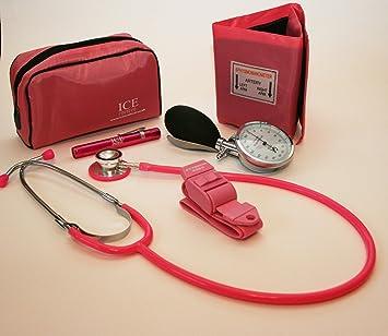 Kit para médicos generalistas rosa que incluye tensiómetro aneroide, estetoscopio, luz de bolígrafo (linterna de bolígrafo) y torniquete.: Amazon.es: Salud y cuidado personal