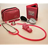 Set con medidor de presión sanguínea manual, estetoscopio, bolígrafo con linterna y torniquete