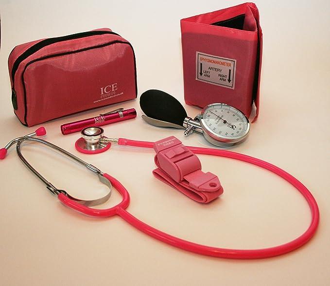 Color rosa y aumento de diseño de manchas de sangre de la presión acústica en Federación del trabajo electrónico de, el estetoscopio, ...