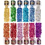 NODDWAY Holographic Chunky Glitter 12 Colors Total 180g, Chunky Glitter for Resin, Chunky Craft Glitter for Festival Arts,Tum