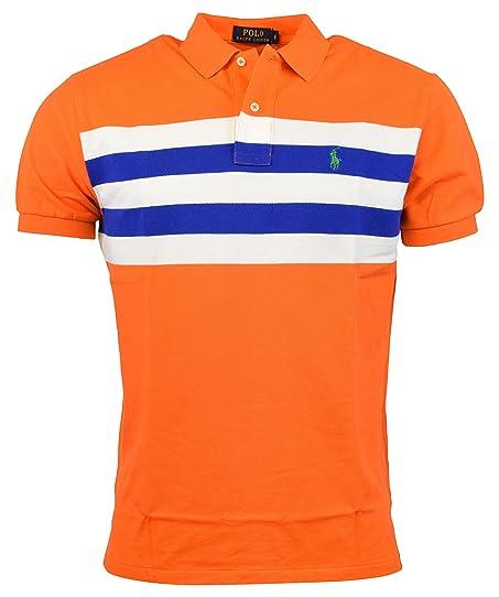 Polo Ralph Lauren Men\u0027s Multi Striped Striped Mesh Polo, Bright Signal  Orange, Medium