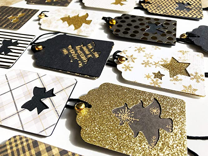 Christmas Gift Tags Handmade.Amazon Com 12x Luxury Gold Black Handmade Christmas Gift