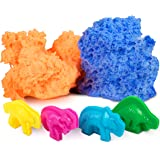 Modeling Clay for Kids - Reusable Fluffy Putty Play Dough Foam, Floof Like Kenetic Play Sand Molding Clay w/ 4 Dinosaur Molds Boys Girls Therapy Sensory Toys