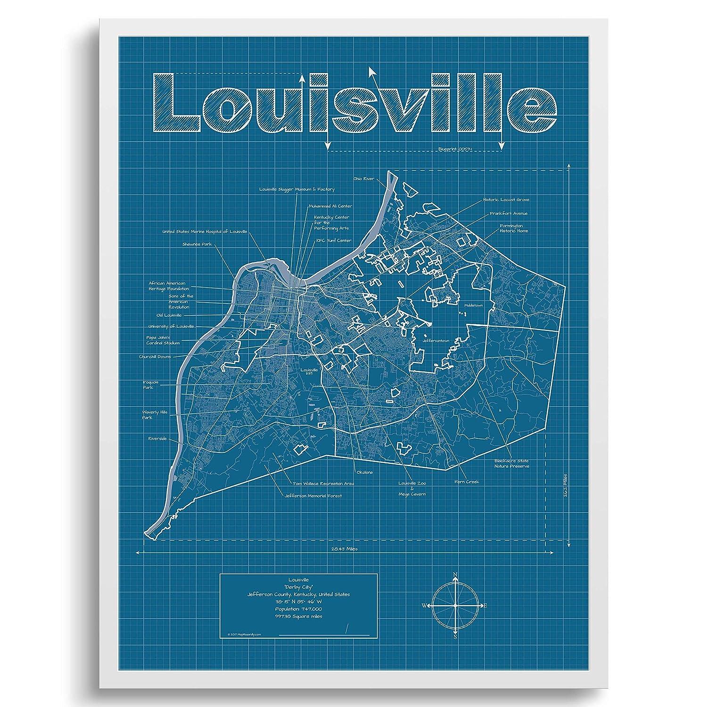 Amazon.com: Louisville Map Louisville Kentucky Wall Art Map ...
