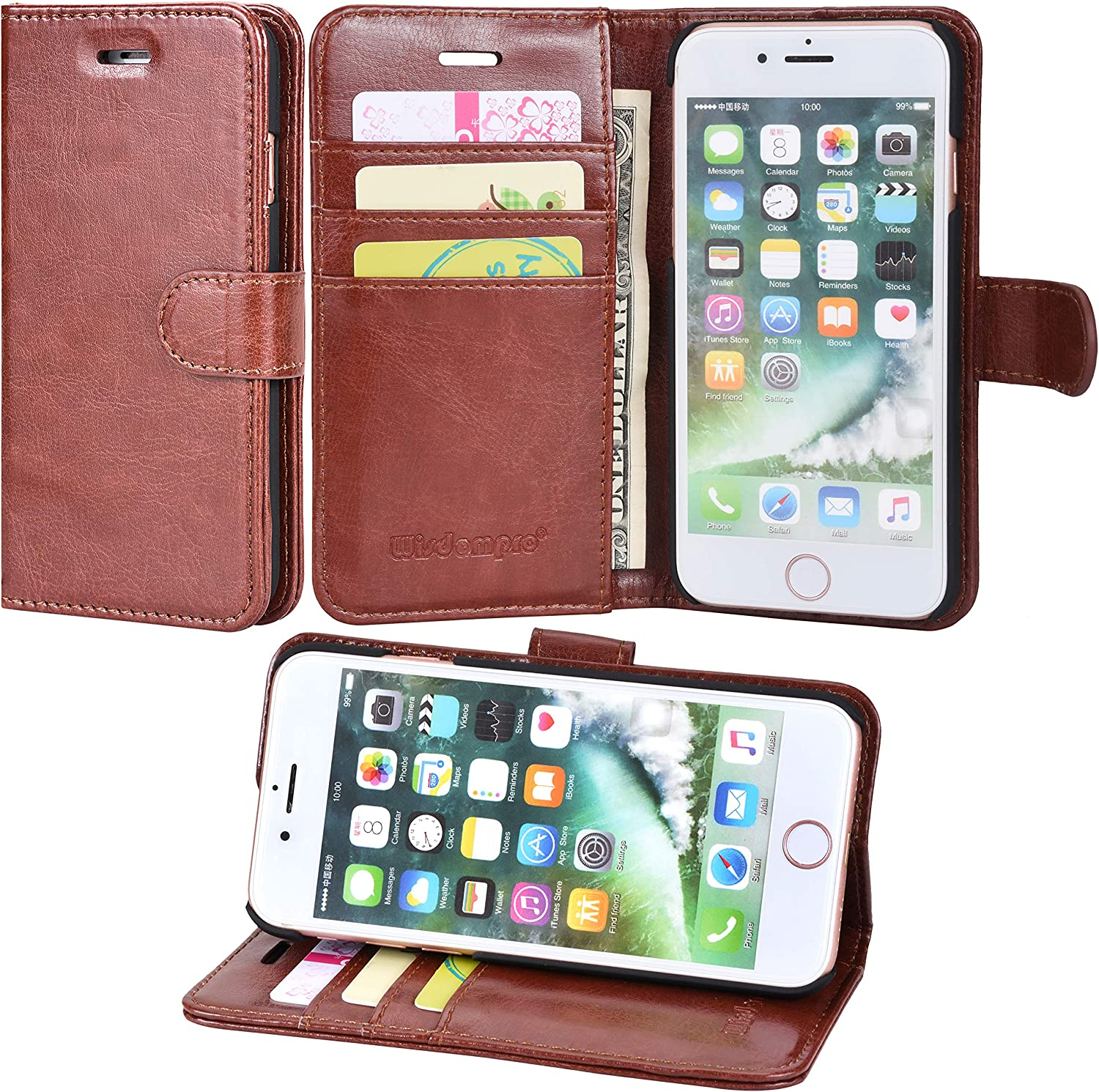 Wisdompro iPhone SE 2020 Case, iPhone 8 Case, iPhone 7 Case, Premium PU Leather 2-in-1 Protective Folio Flip Wallet Case with Kickstand & Credit Card Holder Slots for Apple iPhone SE2/8/7 - Brown