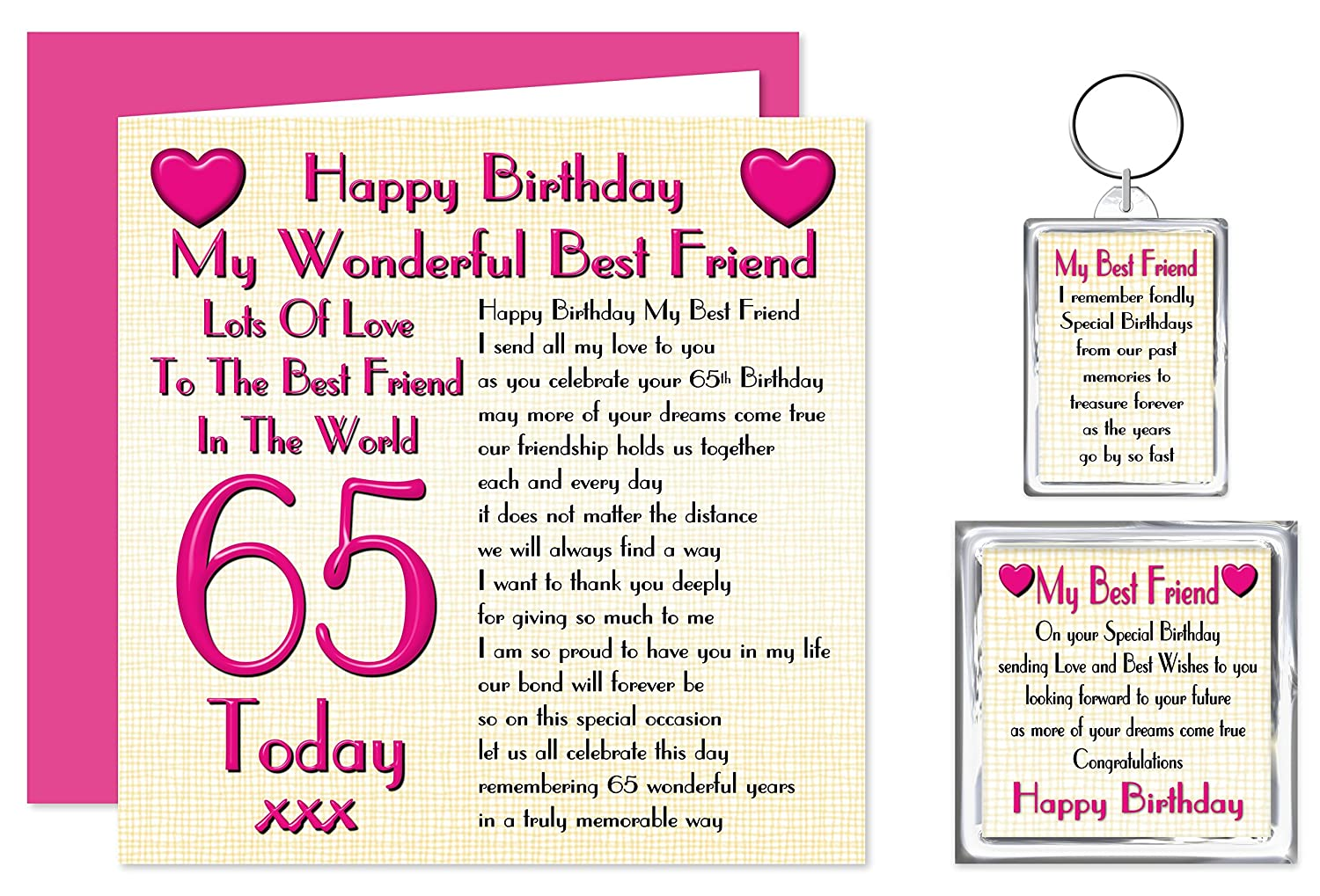 Download 65th birthday card turning 65 happy 65th birthday friend - Best Friend 65th Happy Birthday Gift Set Card Keyring Fridge Magnet Present Lots Of Love To The Best Friend In The World 65 Today Amazon Co Uk