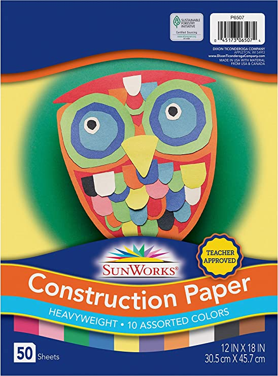 50 Sheets Assorted 12 x 18 Inches Sunworks Multi-Ethnic Construction Paper