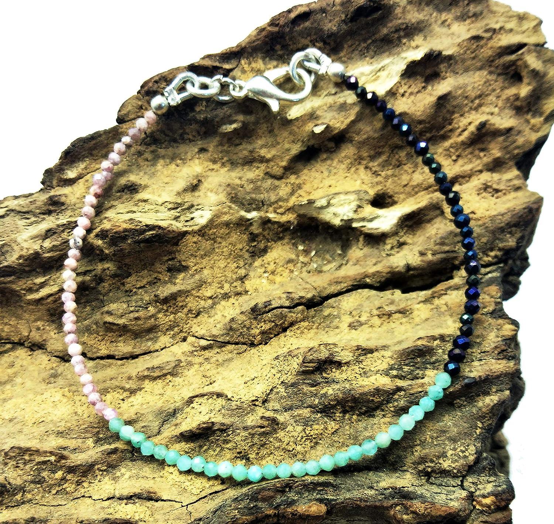 LOVEKUSH - Pulsera de piedras preciosas sueltas con pirita azul y rodocrositis, pulsera de aguamarina chapada en plata de 1,5 mm, Rondelle y facetado de 17,78 cm de largo. BG07