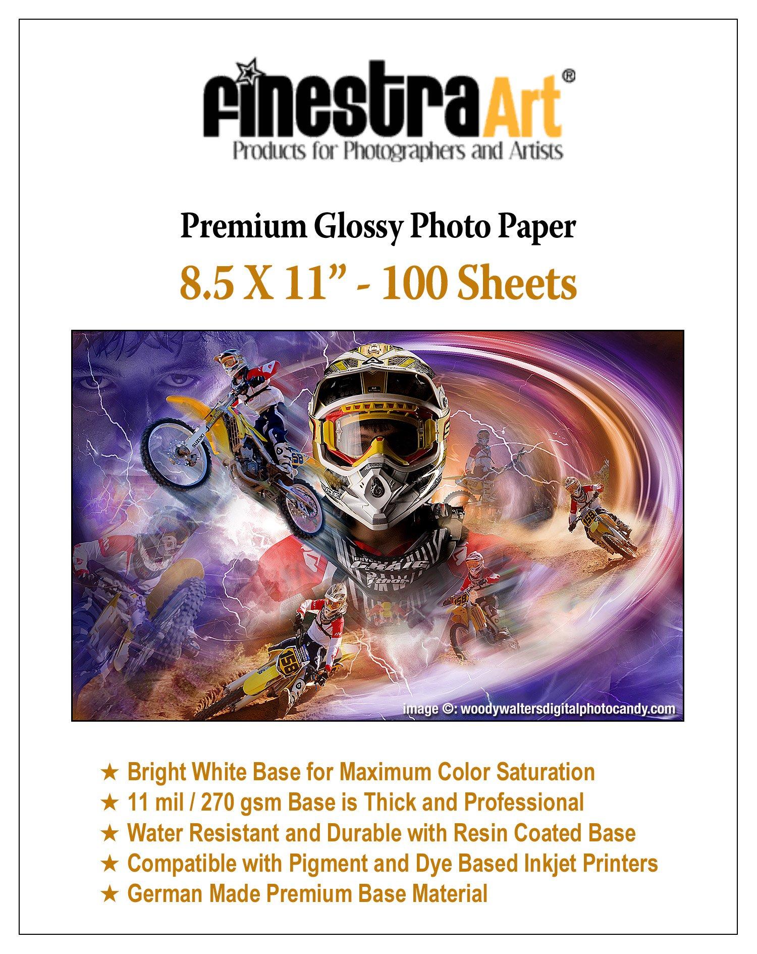 Finestra Art 8.5'' X 11'' 100 Sheets Premium Glossy Inkjet Photo Paper