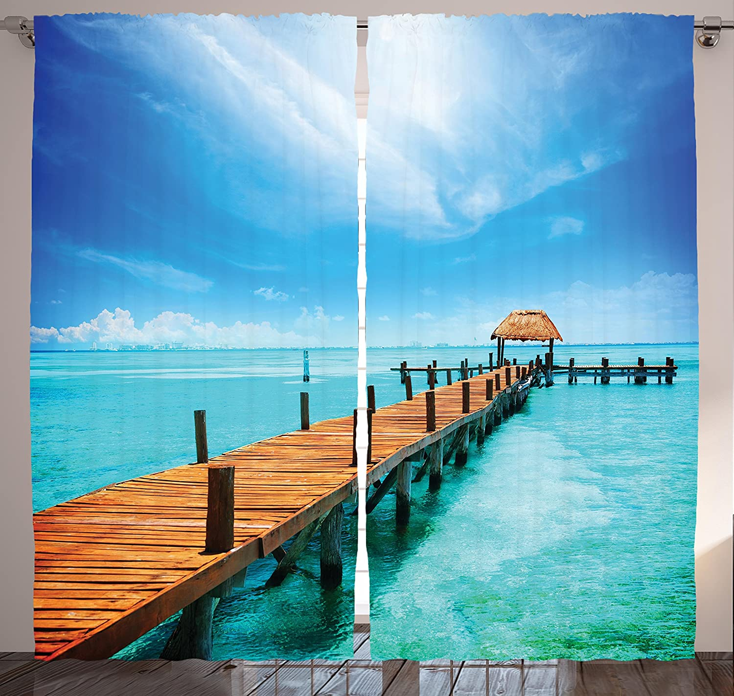 Ambesonne Tropical Curtains, Exotic Hawaiian Wooden Pier Design Warm Ocean Pastoral Summer Vacation Theme, Living Room Bedroom Window Drapes 2 Panel Set, 108