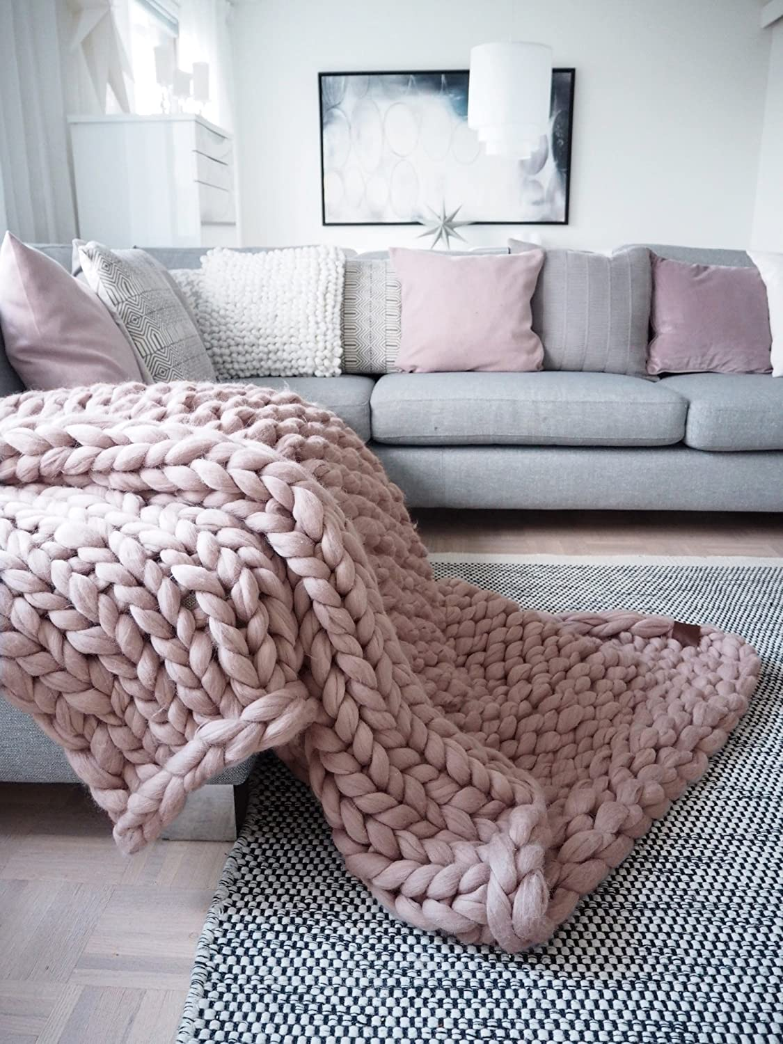 Chunky blanket Merino wool blanket Throw made from chunky yarn Super chunky knits Arm knitted blanket Christmas gift