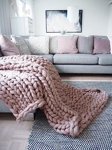 Amazon Chunky Knit Blanket Throw Blanket 40% Merino Wool Gorgeous Merino Wool Blanket Throws