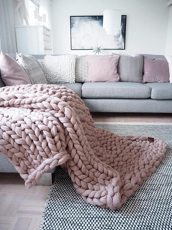 Housewarming Gift Wool Throw Chunky Knit Blanket Merino Throw Blanket Giant Arm Knit Blanket Giant Knit Throw Giant Knit Throw