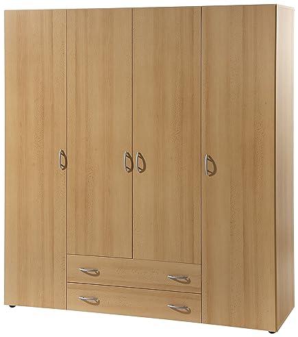 Kleiderschrank schiebetüren buche  Stella Trading Base 4-türiger Kleiderschrank, Holz, buche, 52 x ...