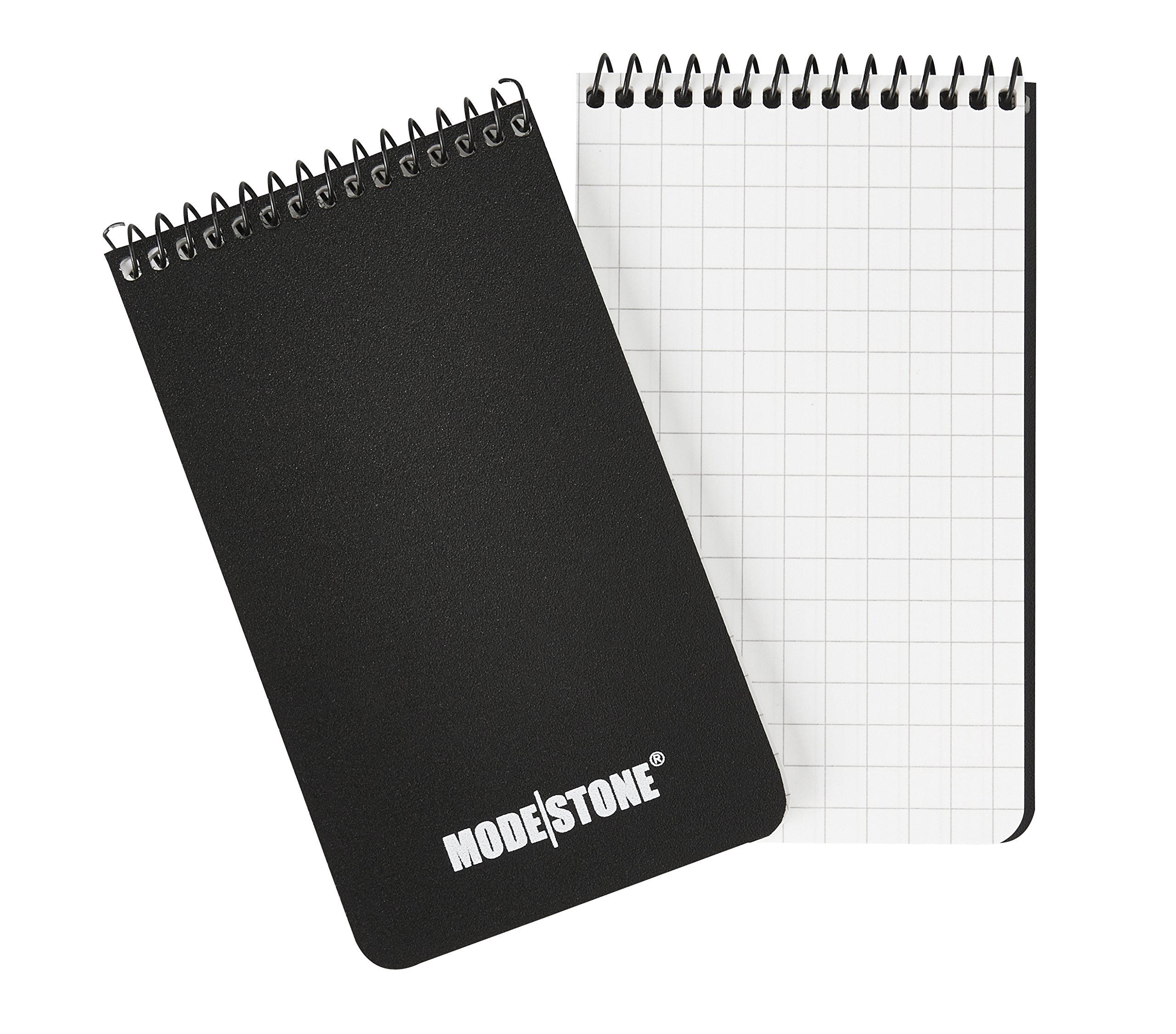 All Weather Waterproof Notebook by Modestone, Top Spiral Bound, Quad Ruled Officer's Pad, 3.8' x 5.8', 30 Sheets, Black (3 pack)