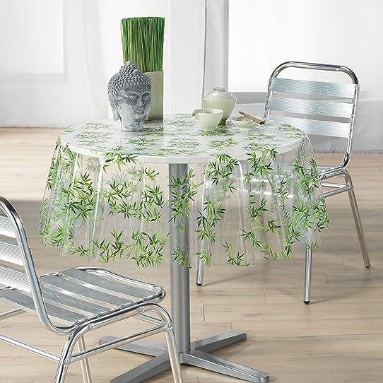 direktshop24 nappe outdoor toile cire bambou dans transparentvert 2 tailles au - Toile Ciree Pour Table De Jardin