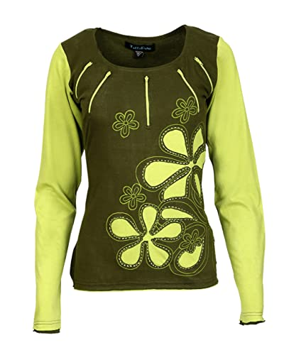 Le donne con maniche pieno Tops con fiore ricamo e patch di design…