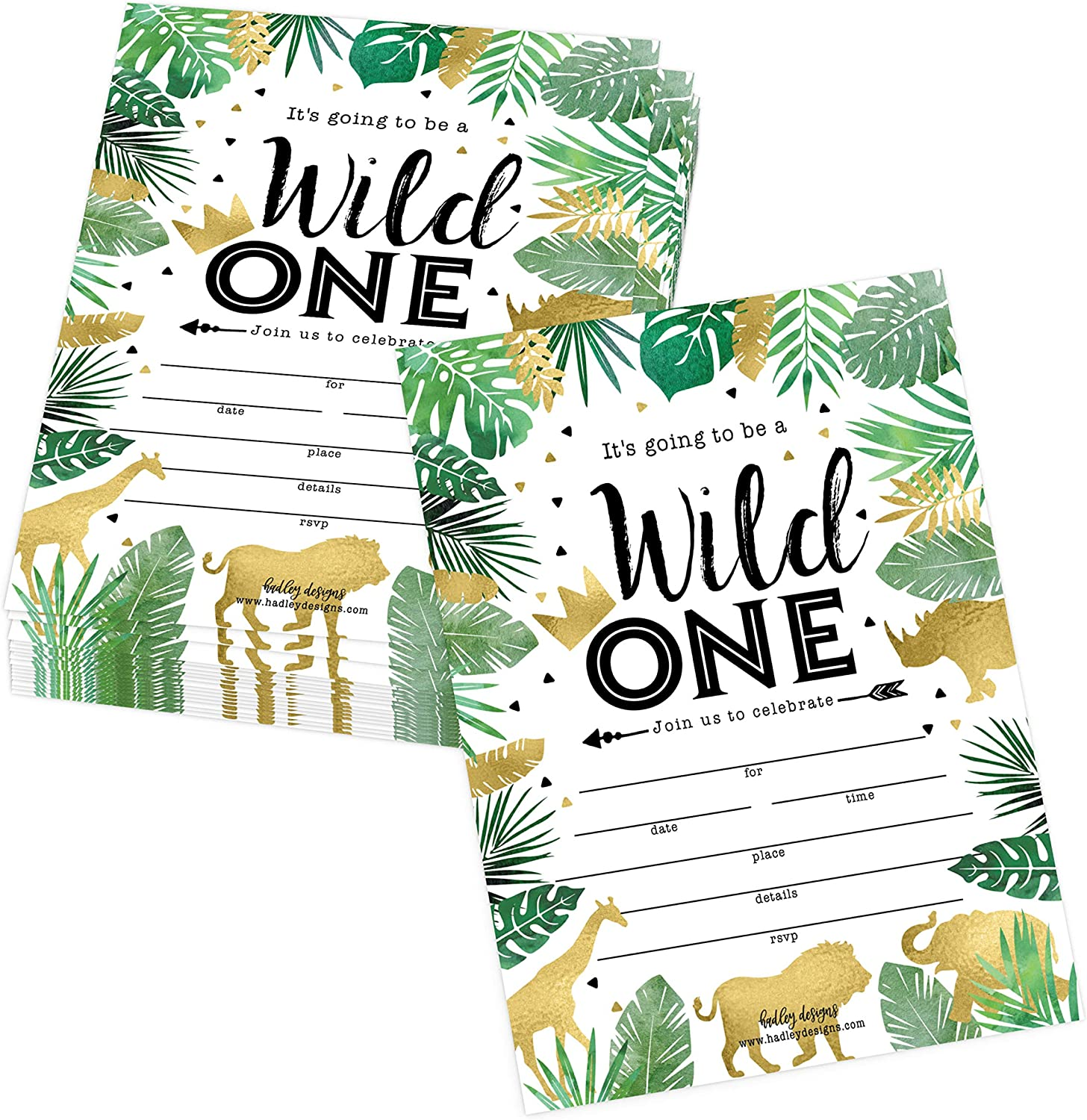 25 jungle safari zoo elephant animals themed kids party invitation crown lion tropical invite forest giraffe wild one bday first year old birthday