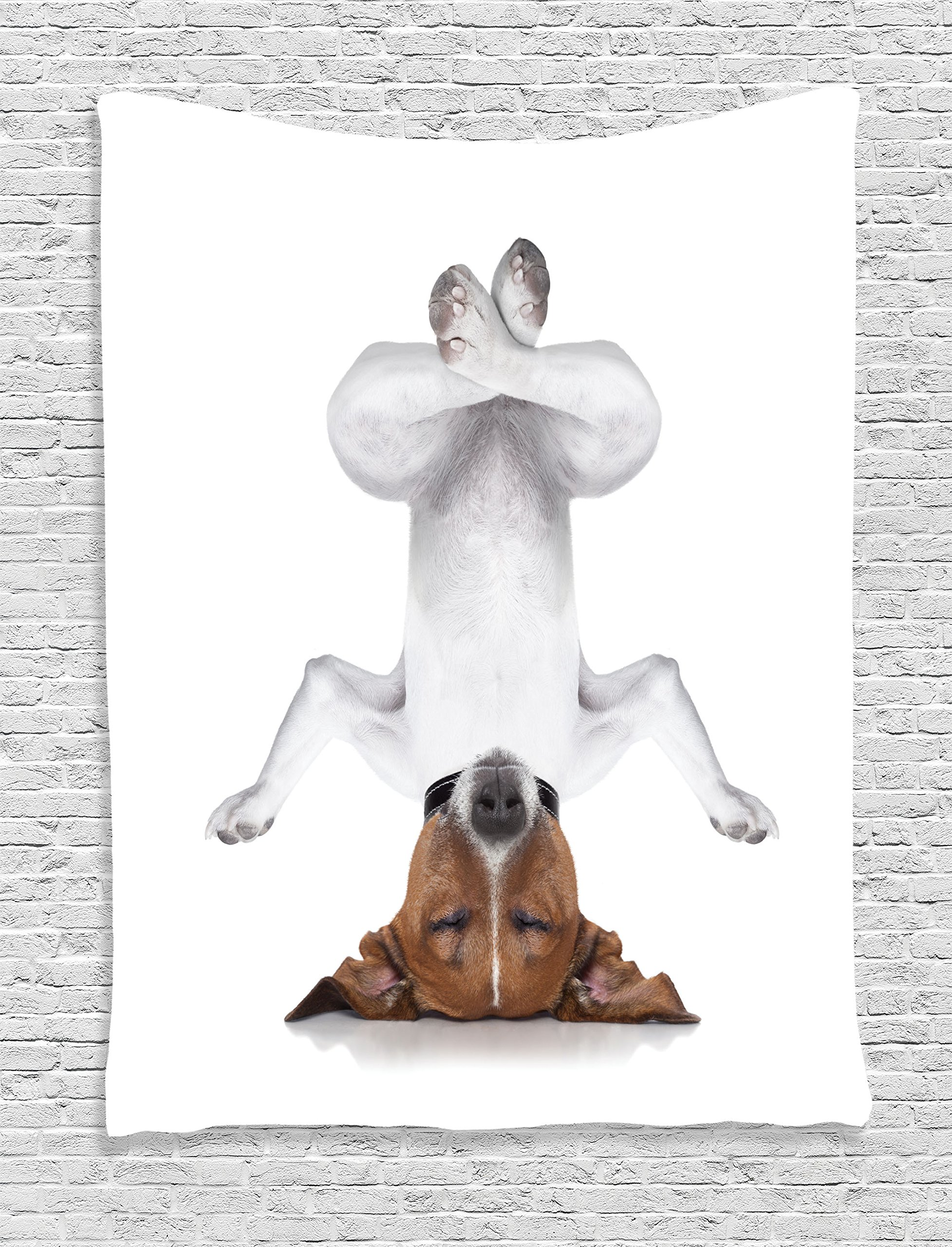 Ambesonne Yoga Decor Tapestry, Dog Upside Down Relaxing with Closed Eyes and Doing Yoga Calm Therapy Humor Animal Print, Bedroom Living Room Dorm Decor, 40 W x 60 L inches, White Brown