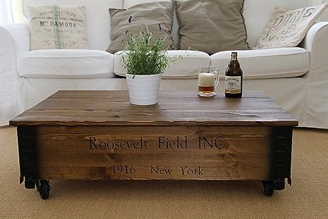 Tavolino basso effetto baule in legno stile vintage shabby chic