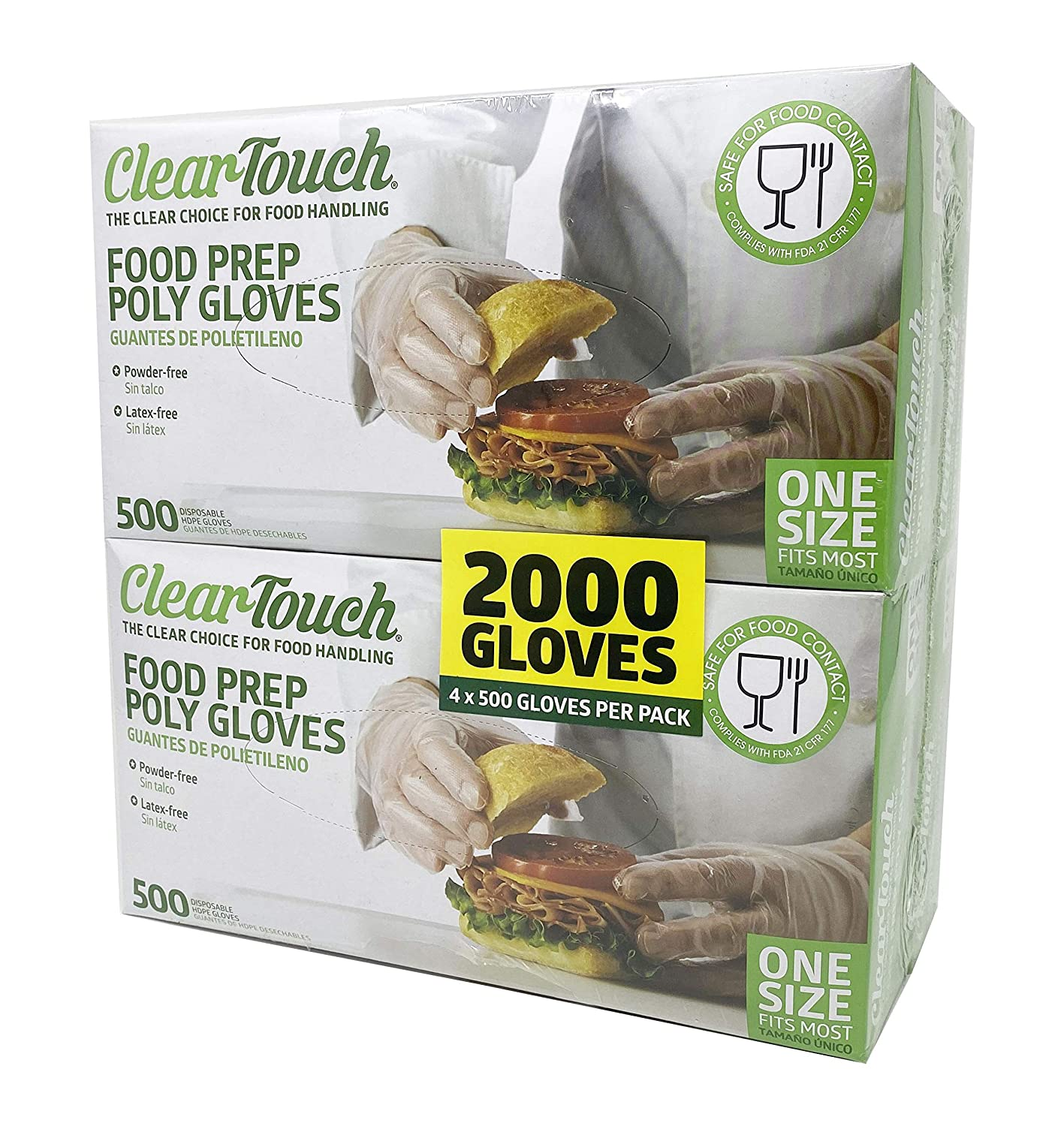 Medline Clear Touch Food Prep Poly Gloves, Latex and Powder Free, One Size Fits Most, (2000 Count), Model:CLE2000HDPE