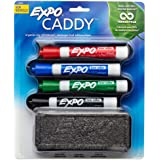 EXPO Low-Odor Dry Erase Set, Chisel Tip, Assorted Colors, 5-Piece with Recycled Material Marker Caddy