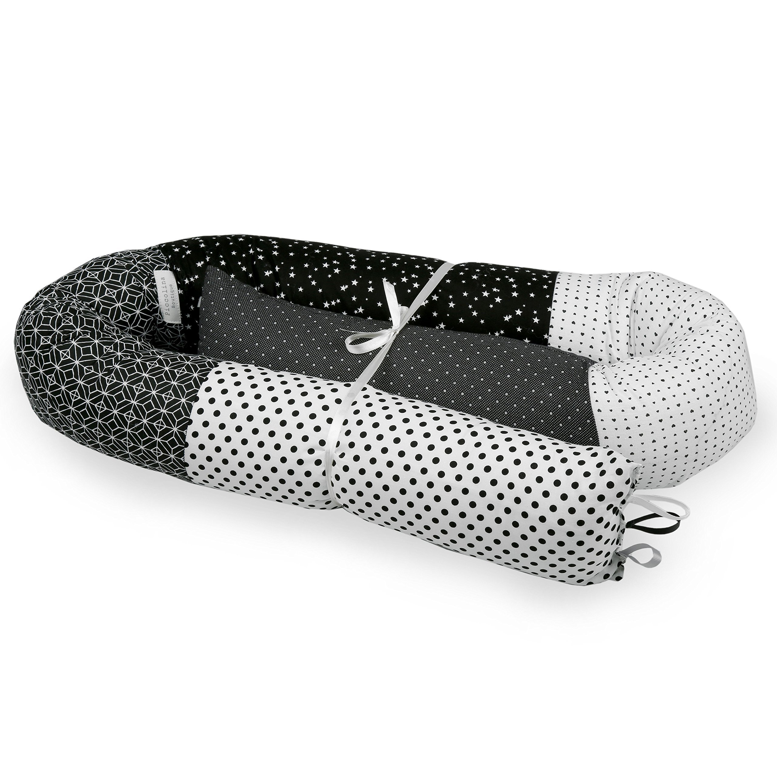 BABY ''SNAKE'' BED BUMPER FOR CRIB OR JUNIOR BEDS-Black&White,bed bumper,nursery bedding,nursery décor