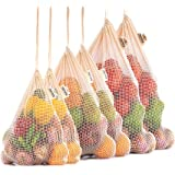 Reusable MESH Produce Bags - Washable Set of 6 (2 ea. M, L, XL) - Heavy Duty, Double Stitched with Tare Weight tag - Organic Cotton Grocery Bags for Zero Waste Shopping, Lightweight & Drawstring