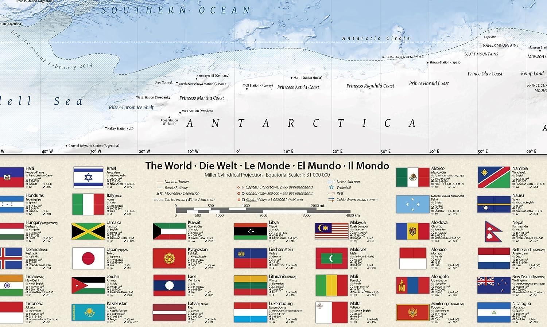 100x70 cm con bandiere J.Bauer Karten Mappa politica del mondo edizione 2017 in inglese