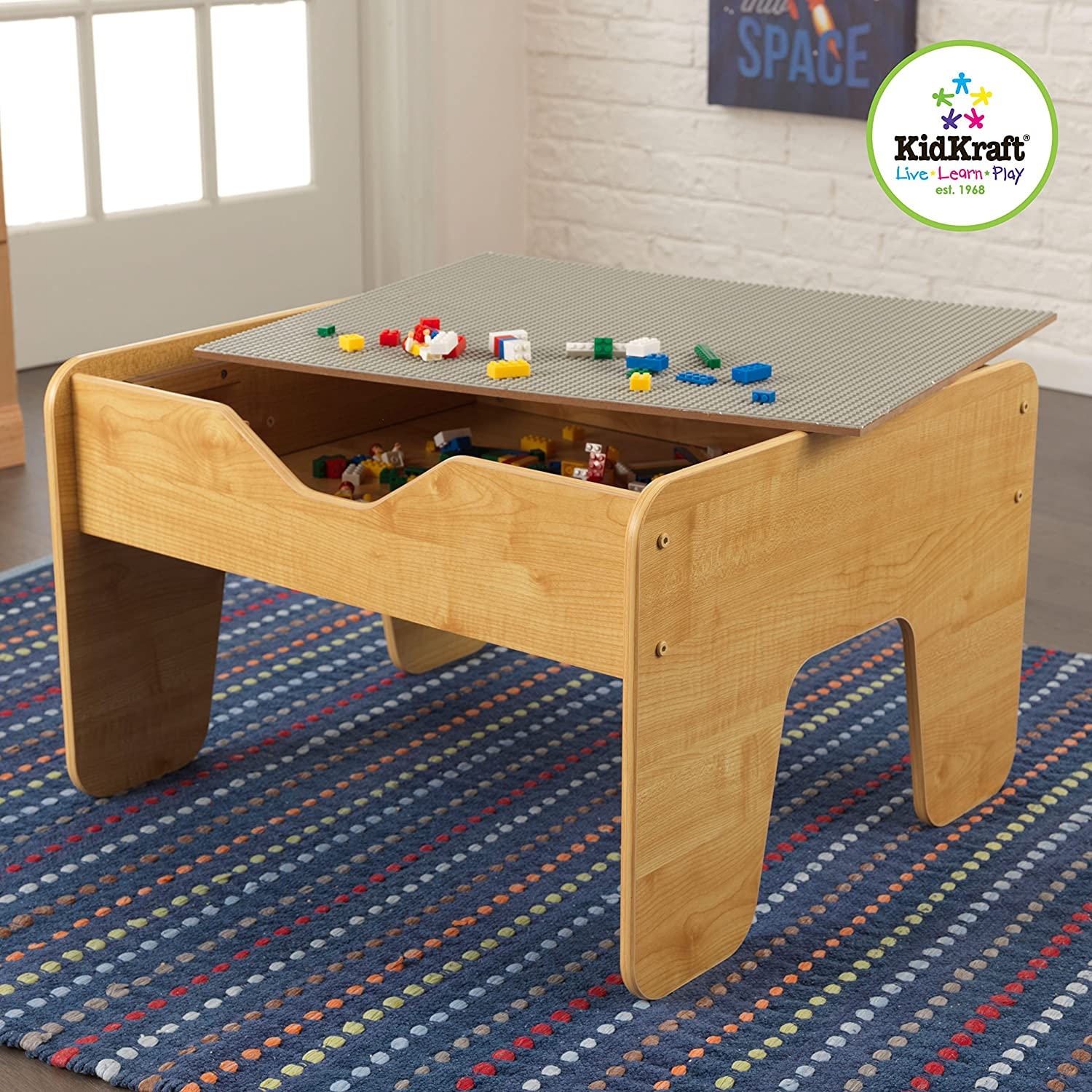 Amazon.com: KidKraft 2 In 1 Activity Table With Board, Gray/Natural: Toys U0026  Games