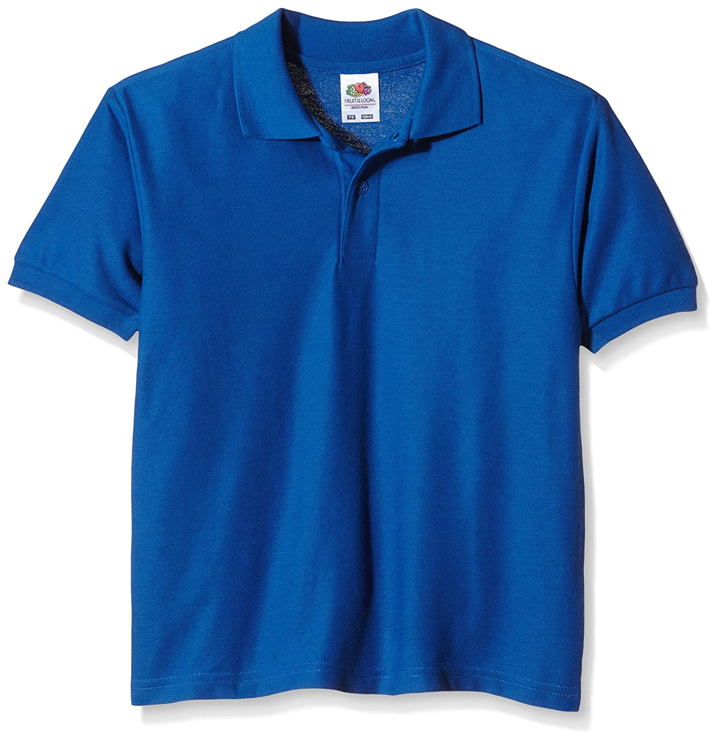 Fruit of the Loom childs 65/35 pique polo shirt Royal Blue age 7 to 8 63-417-0