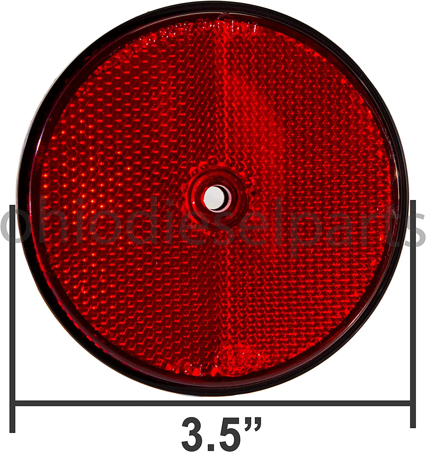 Ohio Diesel Parts 3-1//2 Inch Truck Tractor Trailer Round Red Reflector Stud-Mounted 3.5 1-Pack