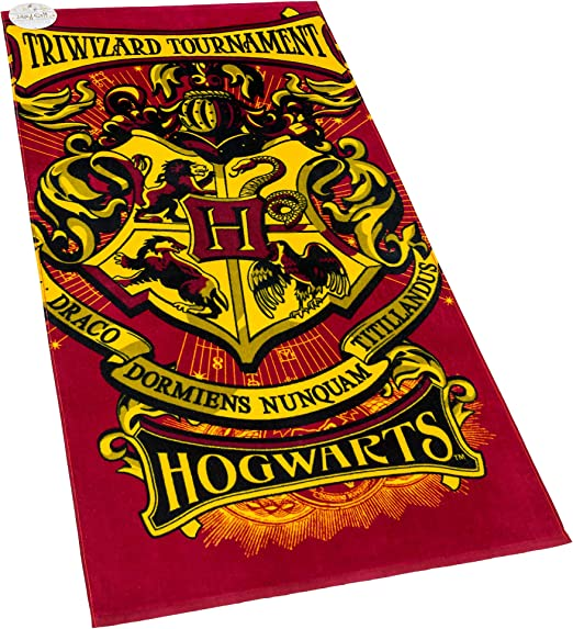 New WARNER BROS Harry Potter Crest Cotton Red Beach Pool Towel 28 X 58 Inches