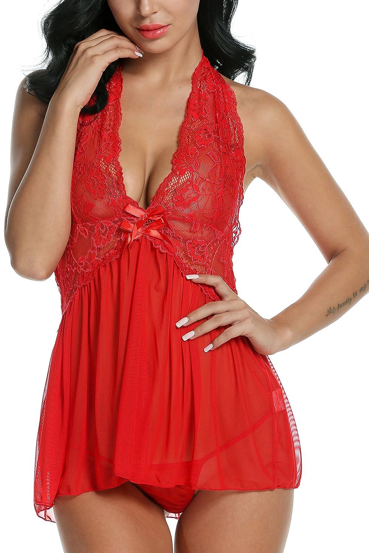 Avidlove Women Lingerie Lace Outfits Halter Babydoll Double Bowknot Chemise #AL001895