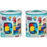 Mega Bloks KmdTwJ 80 Piece Big Building Bag, Classic, Blue, 2 Units