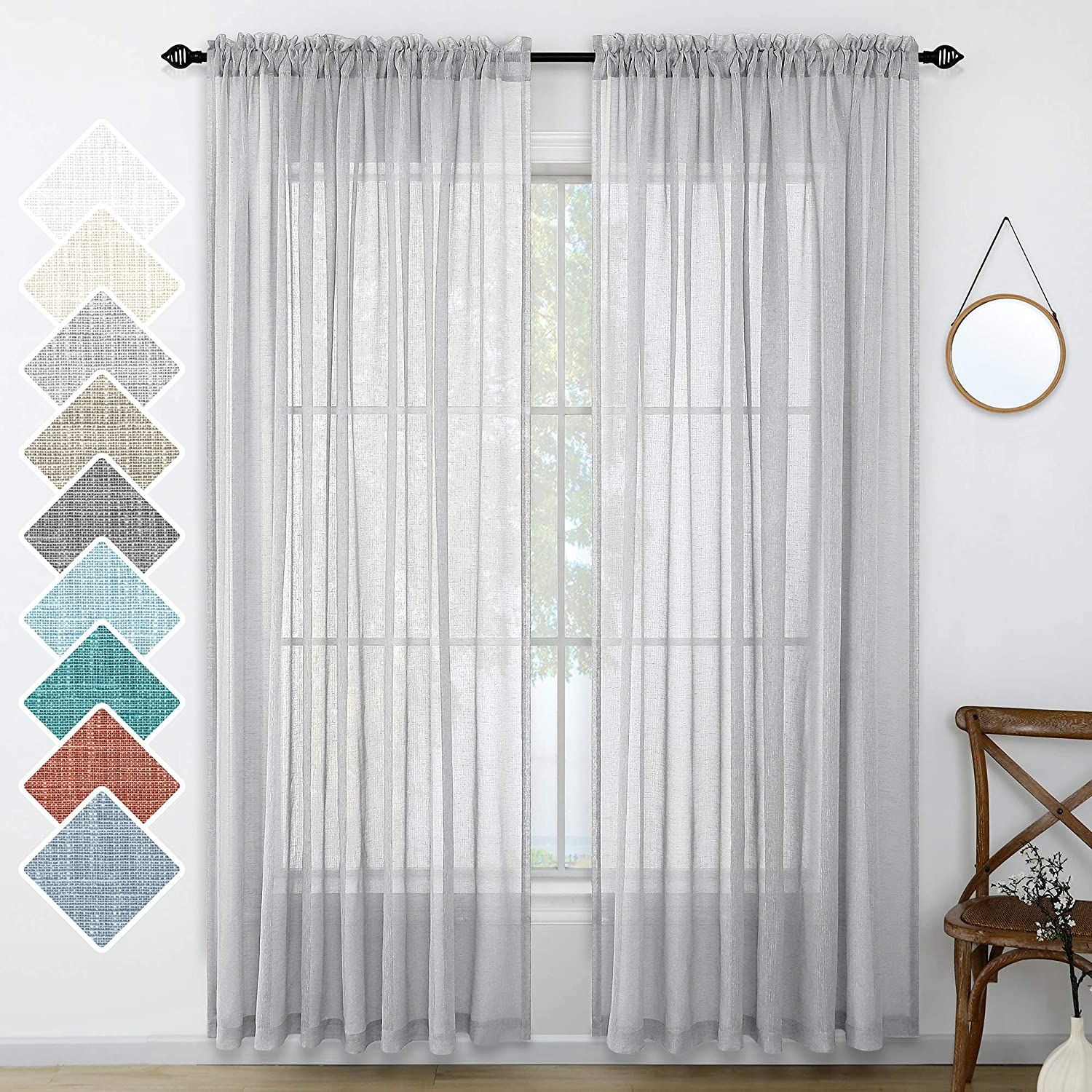 Gray Linen Look Curtains 96 Inches Long Set 2 Panels Rod Pocket Elegant Woven Textured Voile Sheer Drapes for Bedroom Living Room Patio Sliding Door Home Office Backdrop 52x96 Inch Length Silver Grey