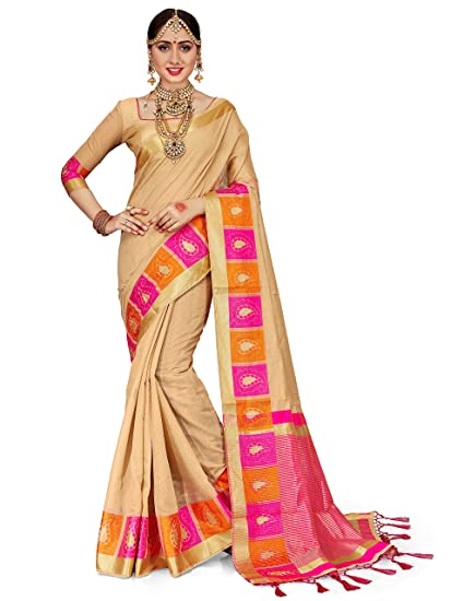 Amazon Com Elina Fashion Sarees For Women Cotton Silk Woven Saree