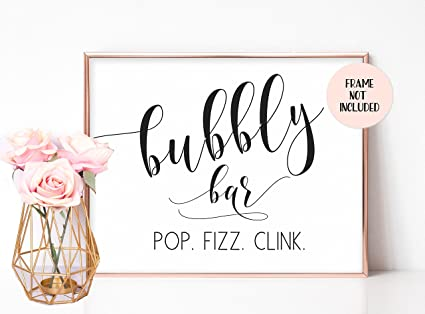 bubbly bar sign wedding bar sign champagne table sign mimosa bar bridal