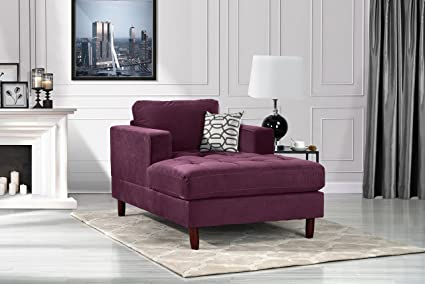 Delicieux Mid Century Modern Velvet Fabric Living Room Chaise Lounge (Purple)