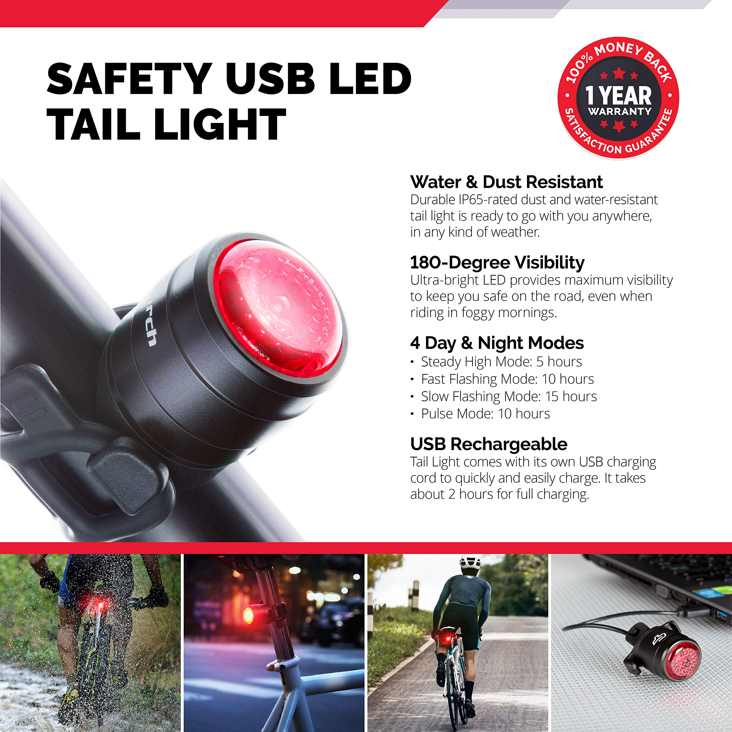 Bolt Combo USB Rechargeable Safety Bike Light Set