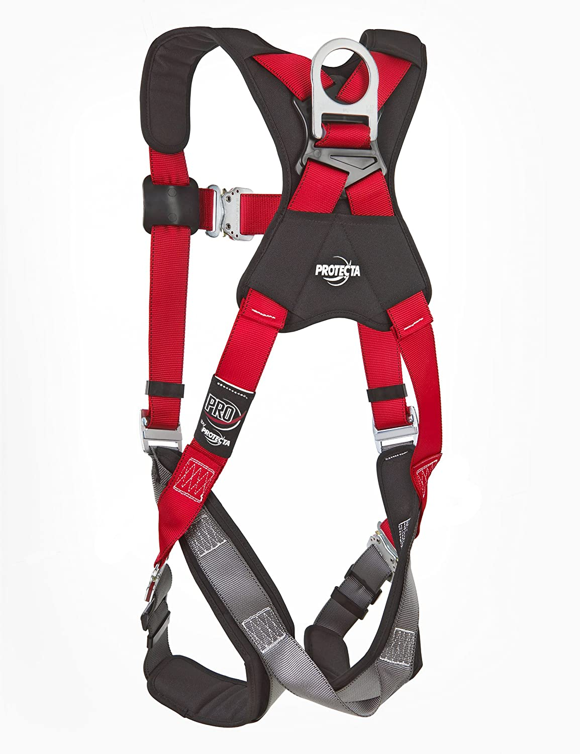 Size X-Large with 3 D-Rings Quick Connect Buckle Legs 3M Protecta 1191261 Fall Protection Full Body Harness 420 Pound Capacity Red//Gray