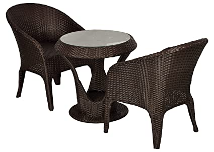 "FurniFutureâ""¢ Lamp Outdoor Furniture 2 Chairs and Table Set - (Brown)"