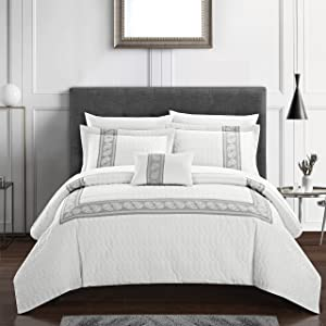Chic Home Titian 8 Piece Comforter Hotel Collection Hexagon Embossed Paisley Print Border Design Bed in a Bag-Sheet Set Decorative Pillow Shams Included, Queen, White