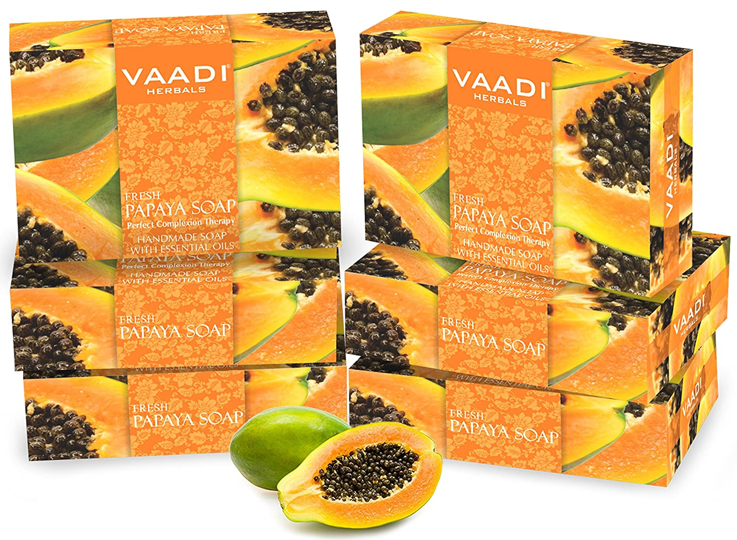 Value Pack of 6 Natural Fresh Papaya Soap (75 gms x 6) Anti-Acne - Oil Control - Skin Lightening Soap - Deep Moisturiser Smooth Face Body- Reduce Dark Spot ...