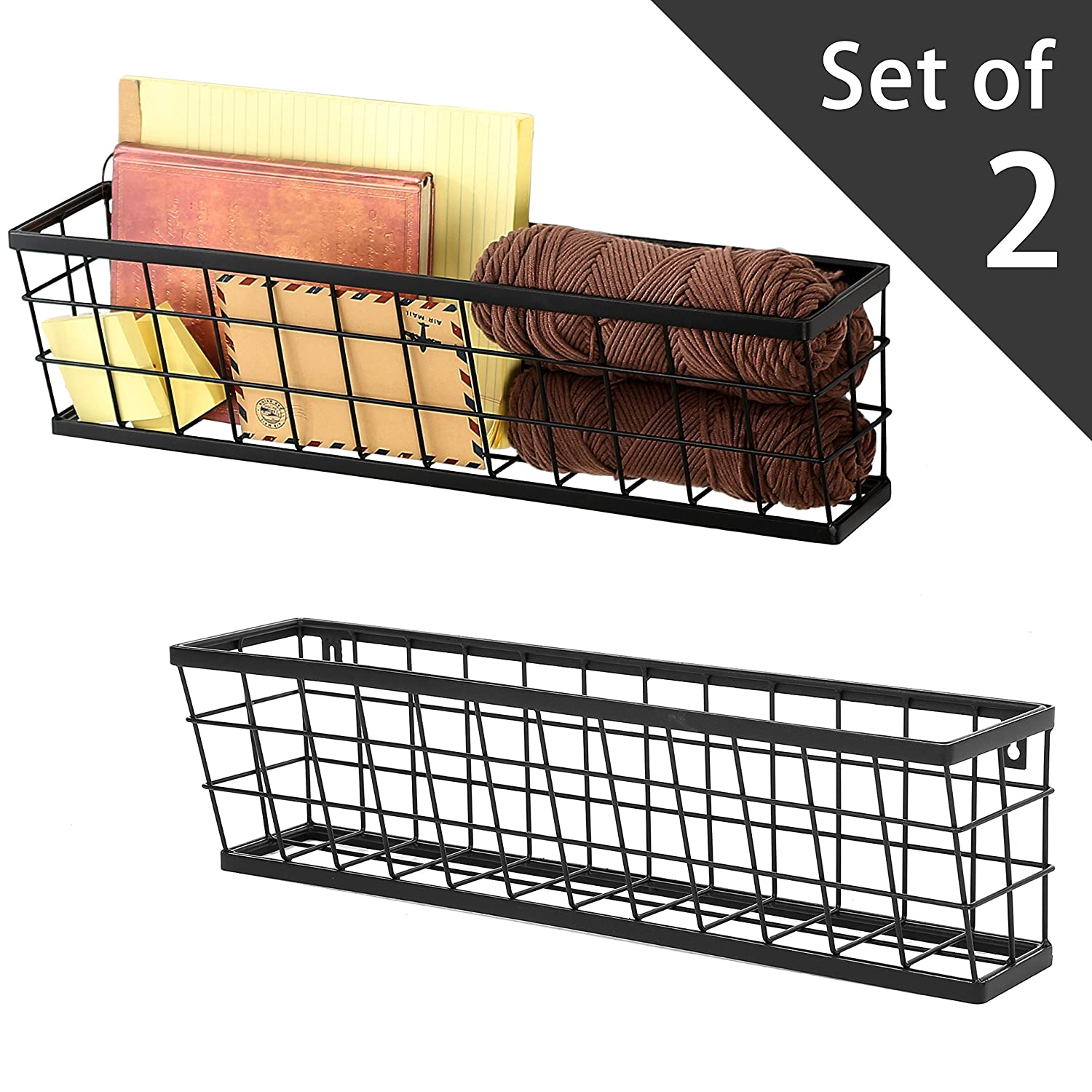 Modern Rectangular Wall Mounted Metal Wire Storage Baskets, Set of 2, Black MyGift SPOMHNK3891