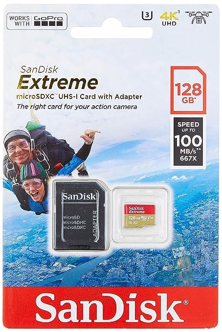SanDisk Extreme - Tarjeta de memoria 128GB microSDXC para móvil, tablets y cámaras MIL + adaptador SD + Rescue Pro Deluxe, velocidad lectura 100 MB/s, ...